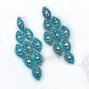 Jewelry - Large Teal Crystal Occasion Earrings